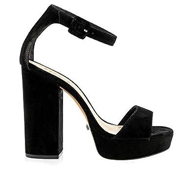 1960a69d07 Image Unavailable. Image not available for. Color: Schutz Mikella Black  Nubuck Suede HIgh Heel Platform Ankle Strap Pump Sandal ...