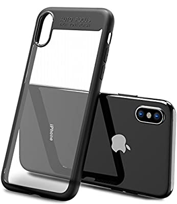 TOZO for iPhone X Case, PC + TPU Hybrid Ultra-Thin [ Perfect Fit ] Hard Protect Case Shock Absorption Back-Transparent Bumper