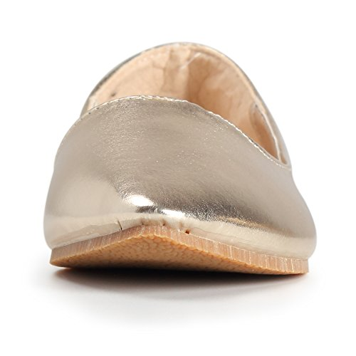 WENN FÜHLEN Women's Pointy Toe Weiche Festkörper Ballett Flache Schuhe Gold