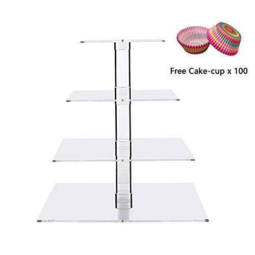 Collection Wedding Money Bag - Cupcake Stands Clear Square Dessert Holders Stacked 4 Tiers Wedding Acrylic Tiered Cake Tower Party Tree Serving Tray Cupcake Display Serving Platter for Weddings, Pastries, Birthday, Graduation