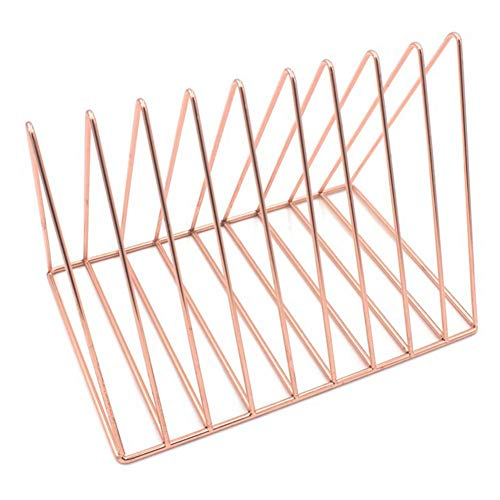 Triangle Metal Book Rack Desktop File Organizer with 9 Sections Storage Rack Bookshelf Holder for Magazines, Books, Newspapers in Bathroom, Family Room, Office, - Sections Organizer Desktop Nine