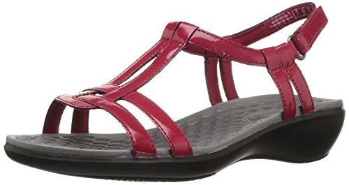 Leather Sandals Aster - CLARKS Women's Sonar Aster Sandal, red Synthetic Patent, 11 Medium US