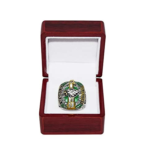PHILADELPHIA EAGLES (Nick Foles) 2018 SUPER BOWL LII WORLD CHAMPIONS (Fly Eagles Fly) Rare Collectible Replica Silver NFL Football Championship Ring with Cherrywood Display Box