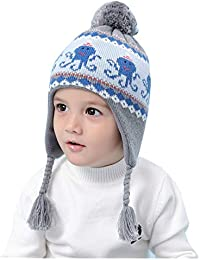 Connectyle Toddler Infant Baby Fleece Lined Knit Kids Hat with Earflap Winter Hat (Octopus, M:1T-2T(18.1