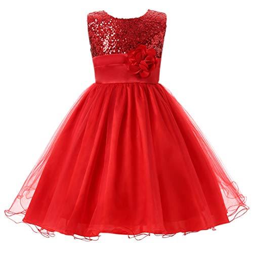 Csbks Little Girl Flower Sequin Princess Tulle Party Dress Birthday Ball Gowns 7 -