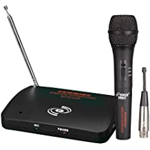 Dual Function Dynamic Microphone System - UHF Wireless/Wired Handheld Audio Mic and Receiver Set with Mixed XLR Output - Great for Karaoke PA and Dj Party - Pyle Pro PDWM100