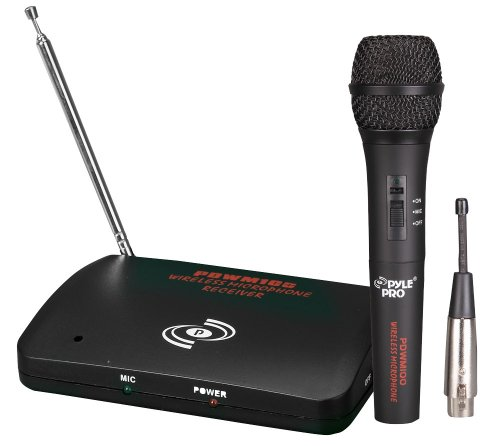 Dual Function Dynamic Microphone System - UHF Wireless/Wired Handheld Audio Mic and Receiver Set with Mixed XLR Output - Great for Karaoke PA and Dj Party - Pyle Pro PDWM100 -