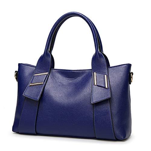 (LIUGHGB Women H Bags Luxury S Genuine Leather Shoulder Bag H Bags Women Leather Ladies H Bags Bolso Mujer Piel Sapphire Blue 30cm)