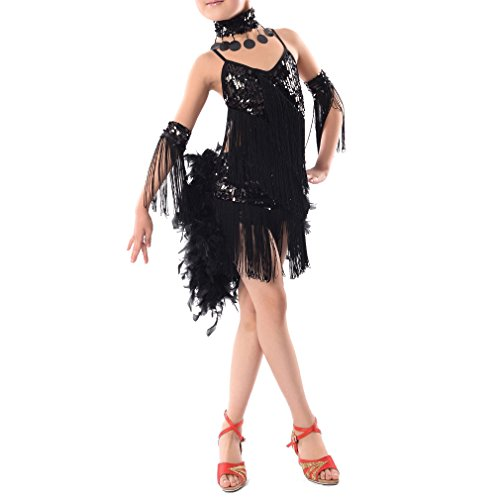 [TOOGOO(R)New Children Kids Sequin Feather Fringe Stage Performance Competition Ballroom Dance Costume Latin Dance Dress For Girls Black,XL] (Ballroom Dance Costume For Kids)
