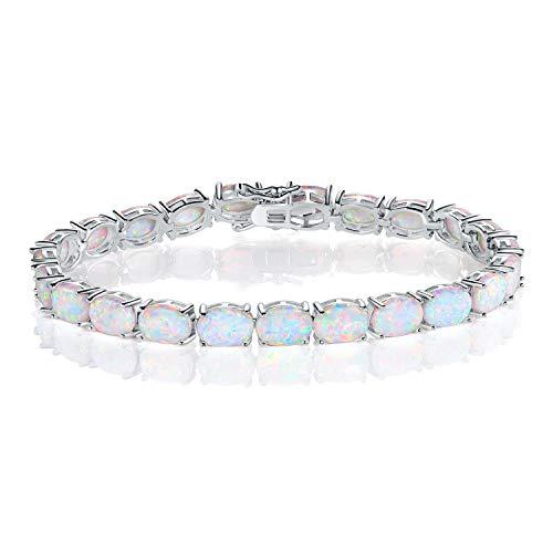 Oval Bracelets Opal (GEMSME 18K White Gold Plated 6x8 Oval Opal Tennis Bracelet for Women)