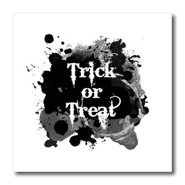 3dRose InspirationzStore - Occasions - Trick or Treat Happy Halloween Scary Writing Text on Black Ink Splats - 10x10 Iron on Heat Transfer for White Material (ht_317315_3) ()