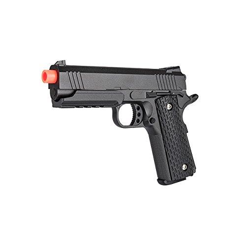 Full Metal 1911 Warrior Spring Airsoft Pistol, Black/Tan Shoots 255 FPS