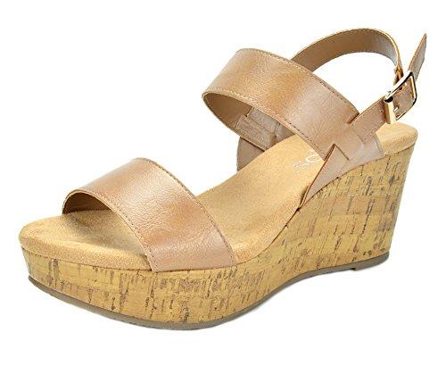 TOETOS Women's Sandro-01 Nude Mid Heel Platform Wedges Sandals - 8 M (Wedge Platform Heels Shoes)