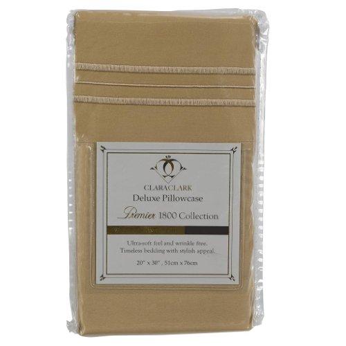 Clara Clark Premier 1800 Collection Pillowcase Set - Standard Size, Camel (Best Clara Clark Bath Pillows)