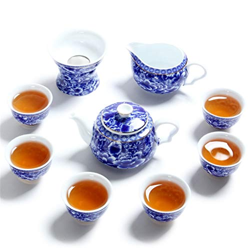 - DONG Chinese Blue and White Porcelain Hand-Painted Gold Blue and White Porcelain Jindi Wanhua Tea Set High-End Gift Tea Set Foreign Trade Special,B