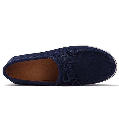 Stq Dames Slip Op Kwast Platform Loafers Suède Mocassin Comfortabele Wedge Werkschoenen Marine Blauw