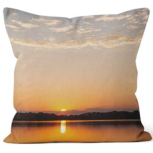 Nine City Missouri Sunset Over Lake in The Ozarks Sack Burlap Pillow,HD Printing Square Pillow case