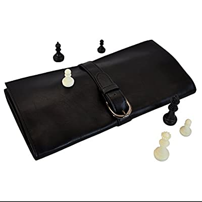 "Travel Chess Board Set by Metier Life | Luxurious Vegan Leather Construction | 9.75"" Lightly Magnetized Square Board with Attached Organizer Pocket 