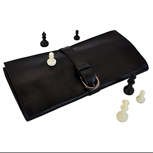 Travel Chess Board Set by Metier Life   Luxurious Vegan Leather Construction   9.75