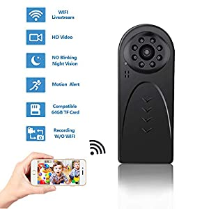 Mini WiFi Spy Camera Wireless Hidden, HD 1080P Hidden Camera for Home Office Security with Night Vision Motion Detection Body Camera Recording Indoor Outdoor Nanny Cam Phone/PC Remote View