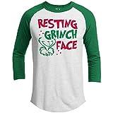 21 THREADS Christmas Raglan Resting Grinch FACE Holiday 3/4 Sleeve T-Shirt