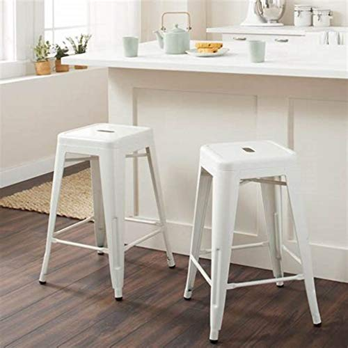 IntimaTe WM Heart White Bar Stools 24 Inch Backless Counter Stools Set of 4 Metal Industrial Style