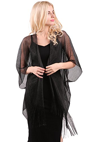 MissShorthair Womens Glitter Open Front Cardigans Sheer Metallic Long Kimono with Tassel