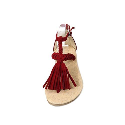 Femme Houppe à Sandales Rouge Tong Talon AgooLar Divisé Non Boucle FUxFd