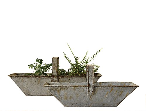 f 2 Rectangle Distressed Metal Baskets with Handles ()