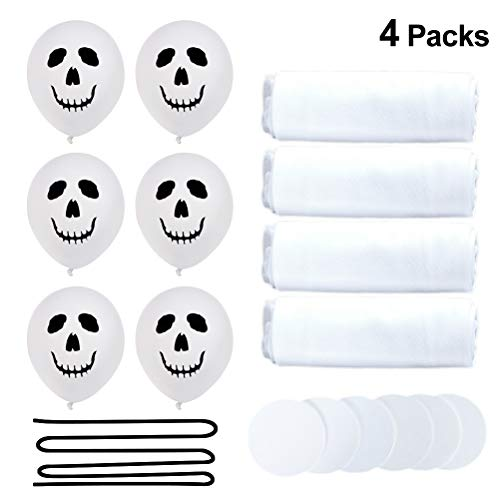 TOYANDONA 16pcs Halloween Balloons Decoration Ghost Balloons Halloween Ghost Decoration with White Tulle Covered and Double Sided Adhesive for Halloween Party Supplies (White)]()