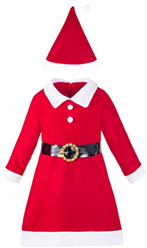 Lilax Girls' Holiday Christmas Santa Dress with Hat (Coat Colors Catholic Costumes)