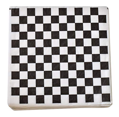 (1000 Sheets Burger/Sandwich Wrapping Paper - 12 Inch Food Basket Liners - Black and White Checkered Design)