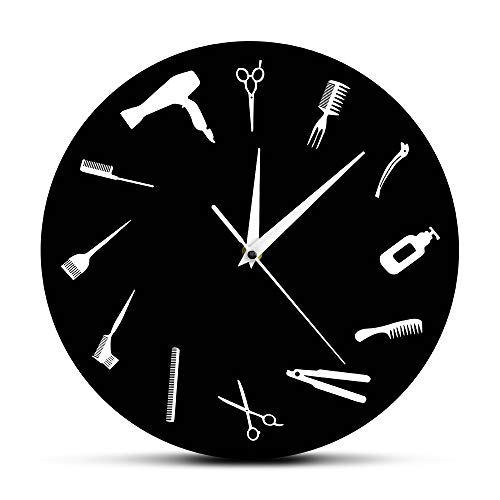 The Geeky Days Barber Equiment Tools Wall Clock Modern Design Barber Shop Business Sign Wall Watch Beauty Hair Salon Clock Hairdresser ()