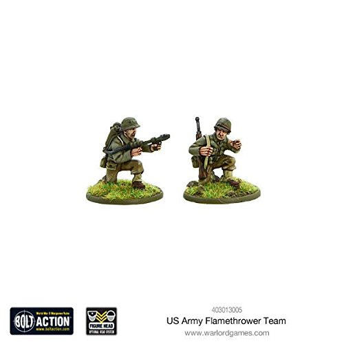 Action Metal Pen - Warlord Games, US Army Flamethrower team, Bolt Action Wargaming Miniatures
