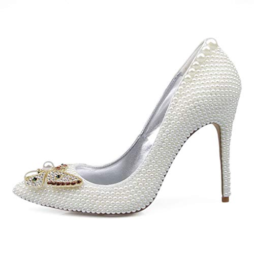 DCYU White Pearl High Heel Butterfly Pointed Stiletto Sandals Banquet Bridal Shoes (Color : White, Size : 7.0 US) ()
