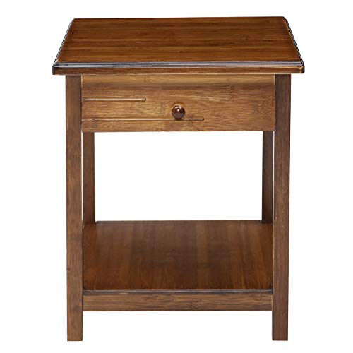 UNICOO-Antique Style Solid Wooden End Table, Sofa Side Table, Bedroom Nightstand, Plant Stand, Telephone Stand, Vase Stand with Drawer and Shelf. Antique Brown