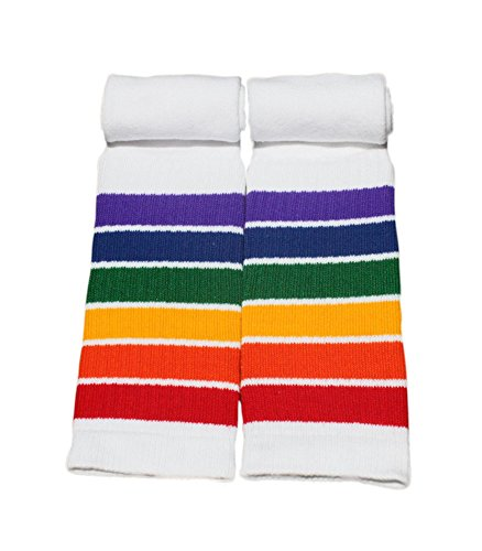 Retro Knee High Rainbow Tube Socks 22-8 (Striped Knee Socks Rainbow)