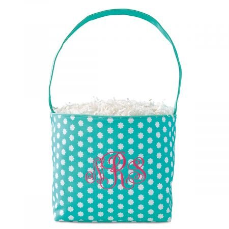 Lillian Vernon Personalized Bloom Kids Name Fabric Easter Bucket - 9'' x 6'' x 8 1/2 polyester Easter basket, Add Initials or a Name, Easter Treat bag