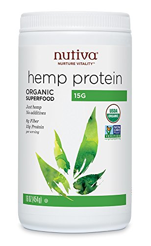 Nutiva Organic, Cold-Processed Hemp Seed Protein from non-GMO, Sustainably Farmed Canadian Hempseed, (50% Protein), 16-ounce ()