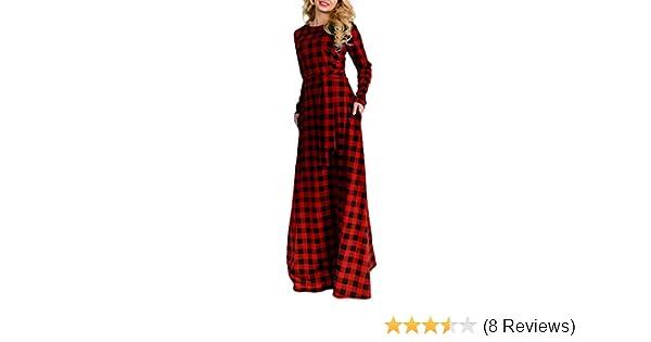 a5d5d5d1a0 GONKOMA Women Elegant Long Sleeve Plaid Plus Size Long Maxi Dress Floor  Length Cocktail Evening Party Dress