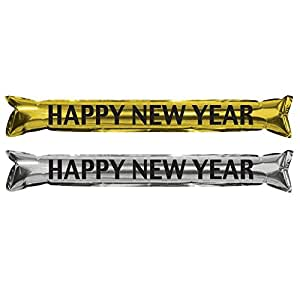 """Beistle 80160Bksgd Metallic """"Make Some Noise"""" Party Sticks, 22-Inch, Gold/Silver/Black"""
