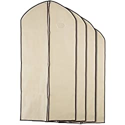 Home Zone - 8 Piece Multi Pack of Breathable Garment Bag Clothes Covers - Coffee & Cream Finish - 4 Medium (90cms 60cms) & 4 Large (130cms 60cms) by Home Zone