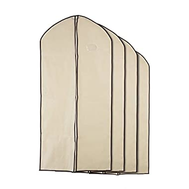 Home Zone - 8 Piece Multi Pack of Breathable Garment Bag Clothes Covers - Coffee & Cream Finish - 4 * Medium (90cms * 60cms) & 4 * Large (130cms * 60cms)