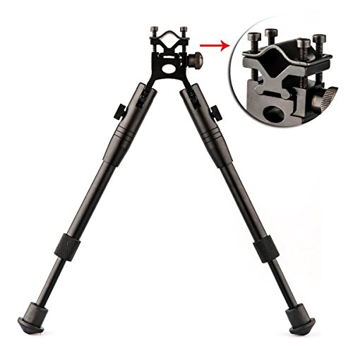 Thumb Two Clamp Position (Bipod Height Adjustable with Swivel Weaver Mount Adapter Rifle Barrel Clamp)