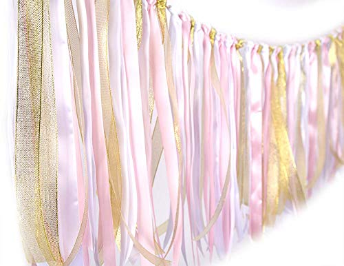 Fabric ribbon garlands with Tassel Garland already assembled ribbon hanging decoration for Baby shower, Weddings, Birthday, Anniversary, Graduation Party decoration Supplies Pink,White and Gold