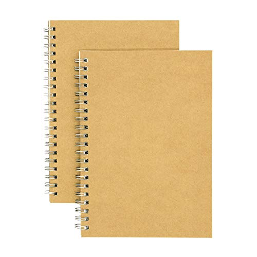 Cream Binding Coil - Soft Cover Spiral Notebook Journal 2-pack, Coofficer Blank Sketch Book Pad, Wirebound Memo Notepads Diary Notebook Planner with Unlined Paper, 100 Pages/ 50 Sheets, 7.5