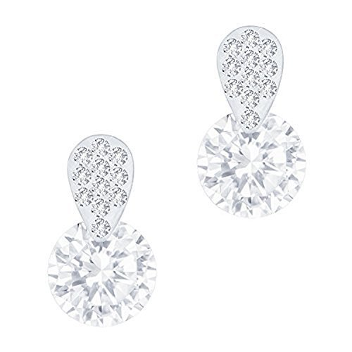Womens Cubic Zirconia Accent - 18k Gold Plated Cubic Zirconia Accent Solitaire Drop Earrings (3.50 carats)