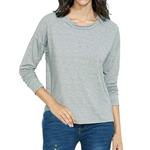 T Fashion Gray XOWRTE Top Lace Solid Blouse Sexy Shirt Perspective Sleeve Long Gray Women fAqEwZp