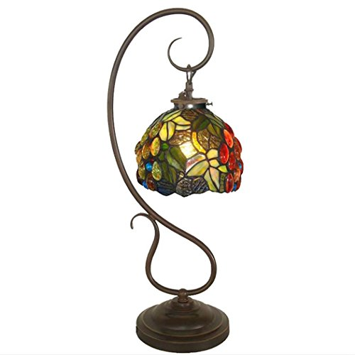 Tiffany Style Table Lamp, 7 Inch Stained Glass Grape Design Desk Lamp, Living Room Bedroom Bedside Art Table Lamp