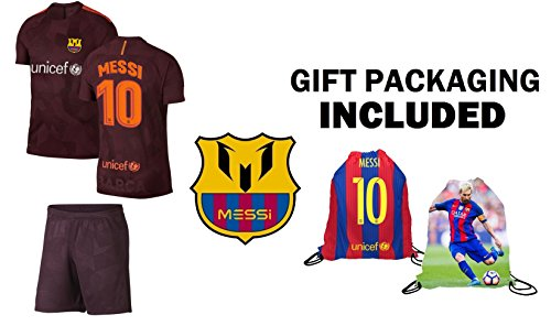 Lionel Messi Barcelona #10 Youth Soccer Jersey Third Short Sleeve Kit Shorts Kids Gift Set (YM 8-10 Years, Jersey Kit)